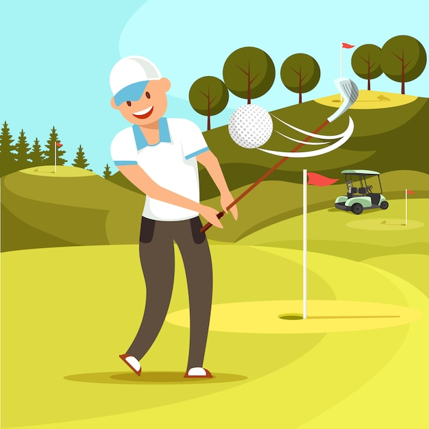 白いスポーツユニフォームで微笑んでいる男がゴルフボールを打ちます。 Premiumベクター