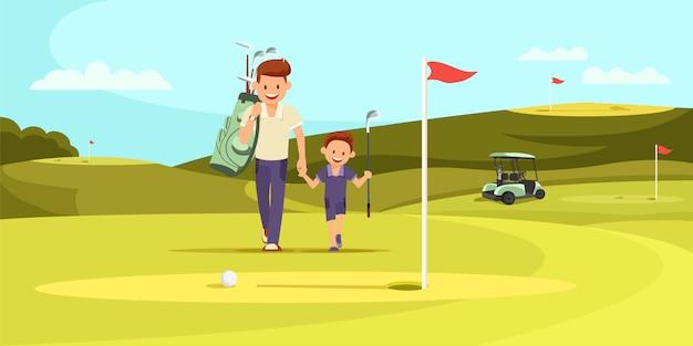 息子と歩くゴルフクラブとスポーツスーツの男 Premiumベクター