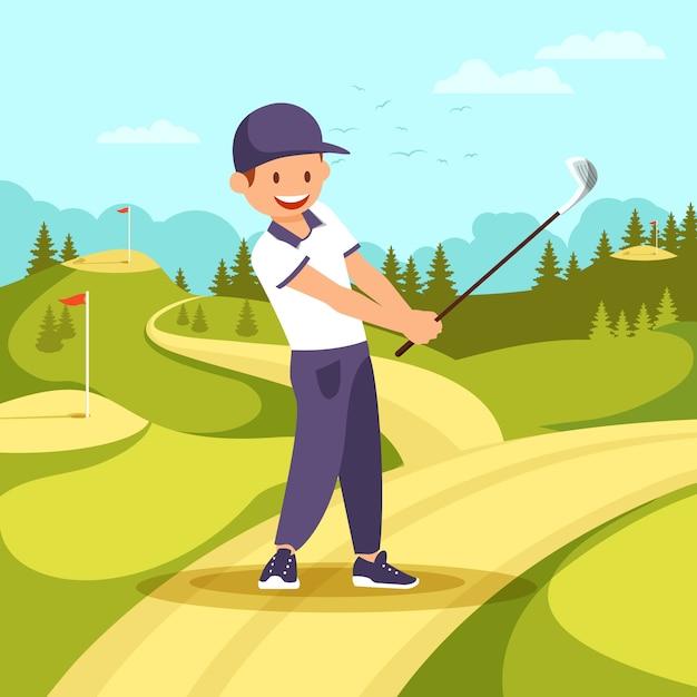 スポーツ制服を着た若い笑みを浮かべて男がゴルフクラブを保持します。 Premiumベクター