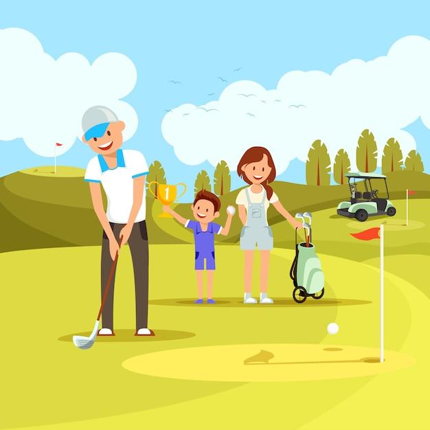 緑のコースでゴルフをする若い陽気な家族 Premiumベクター