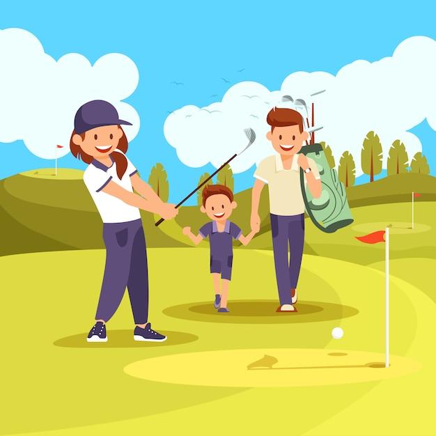 Семейный урок гольфа на зеленом поле в летнее время. Premium векторы