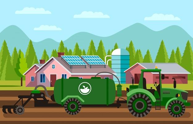 土壌耕運機フィールドベクトルイラスト Premiumベクター