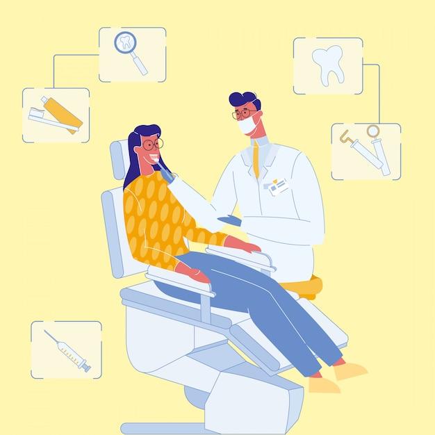 歯科医と患者の診療所のベクトル図 Premiumベクター