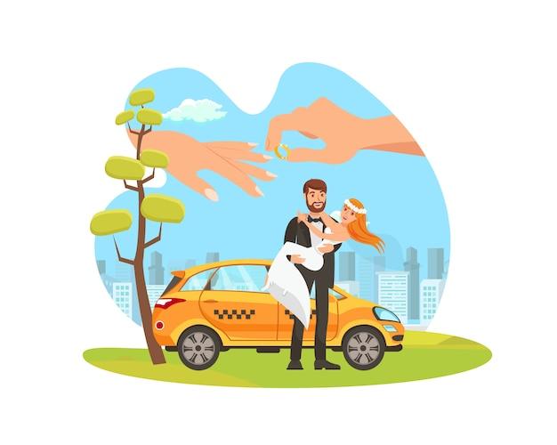 Прокат автомобилей для прополки плоской иллюстрации шаржа Premium векторы
