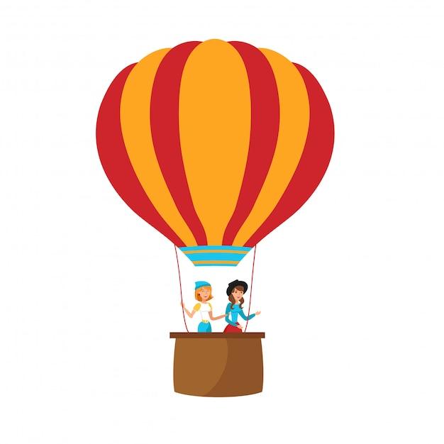 風船で飛んでいる女の子フラットベクトルイラスト Premiumベクター