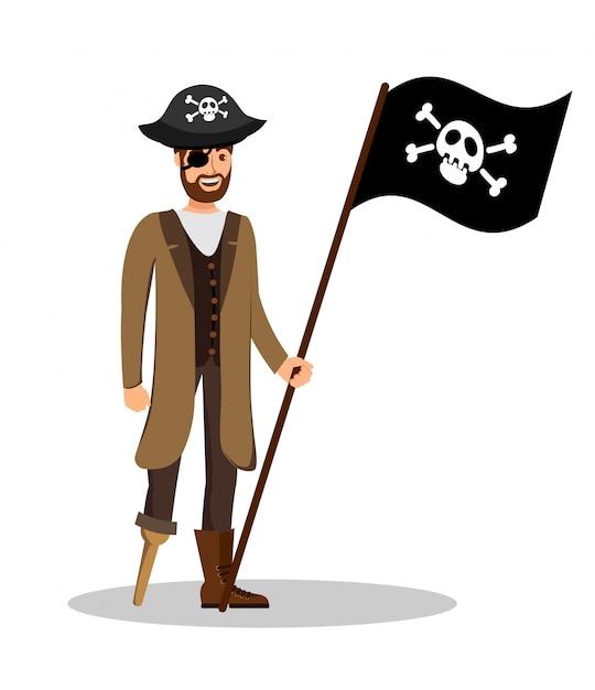 Веселый пиратский капитан с изображением флага Premium векторы