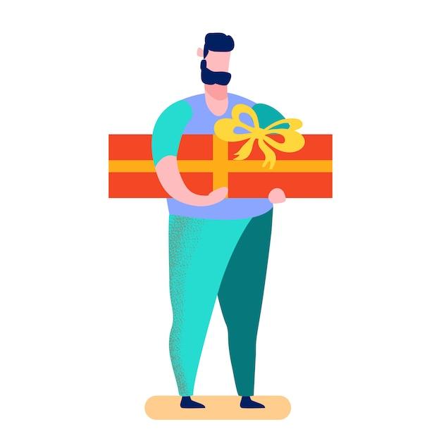 Человек, выбирая подарок мультяшный векторная иллюстрация Premium векторы