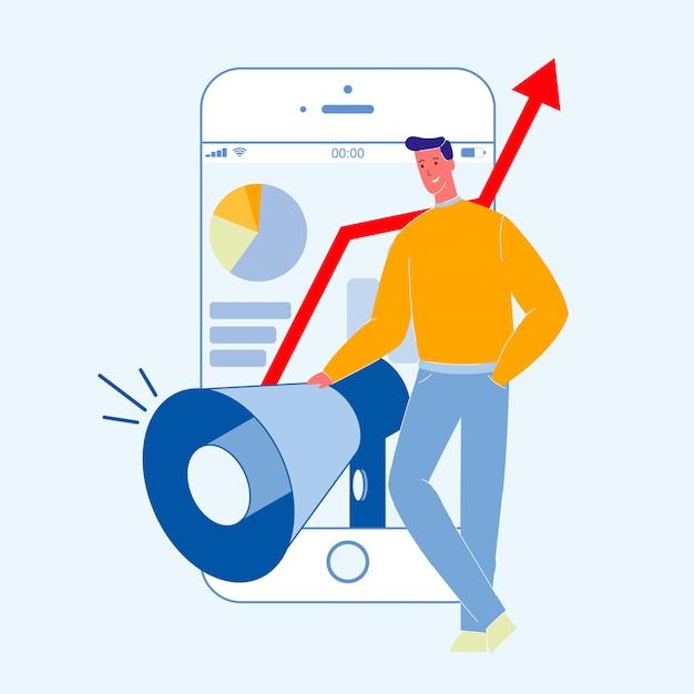 Цифровые, социальные медиа маркетинг цветная иллюстрация Premium векторы