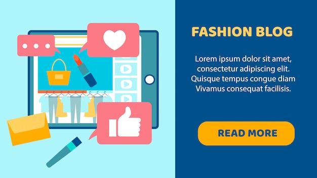 ファッションブログフラットランディングページベクトルテンプレート Premiumベクター