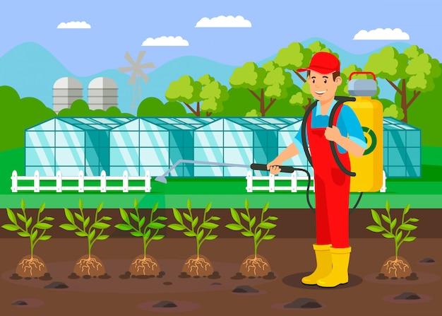 農家の水まき植物フラットベクトル図 Premiumベクター