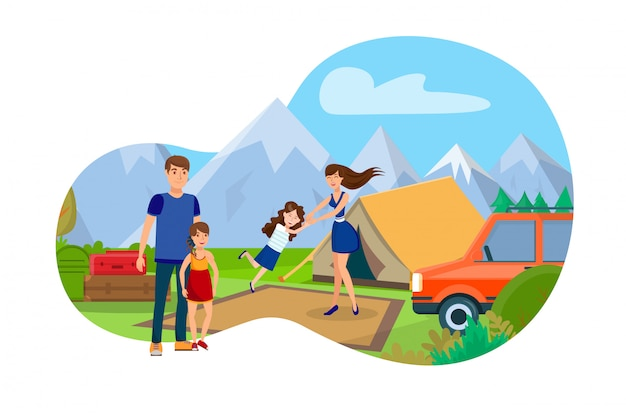 山のキャンプフラットベクトル図の家族 Premiumベクター