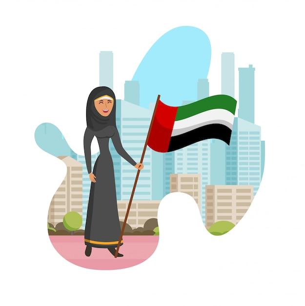 Эмиратский женский день изолированных мультфильм иллюстрации Premium векторы