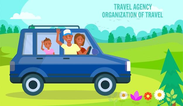 グリーンバレーの風景で車で家族旅行 Premiumベクター