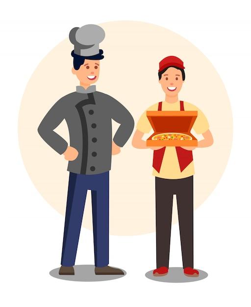 Ресторанные работники в форме плоских персонажей Premium векторы