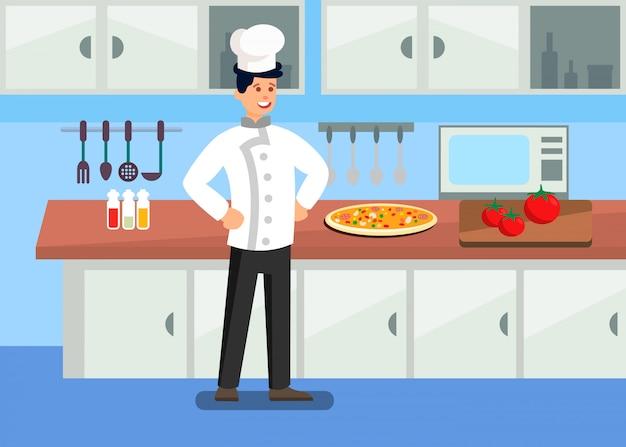 Шеф-повар в профессиональной кухне иллюстрации шаржа Premium векторы
