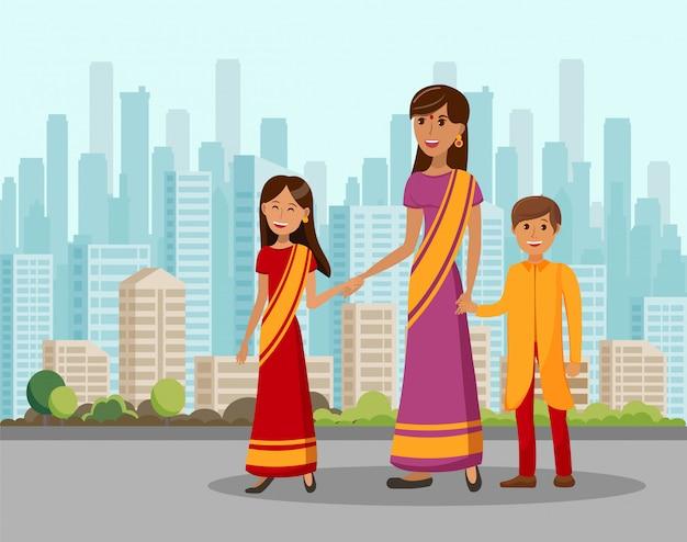 Индийское семейное путешествие мультфильм плоская иллюстрация Premium векторы