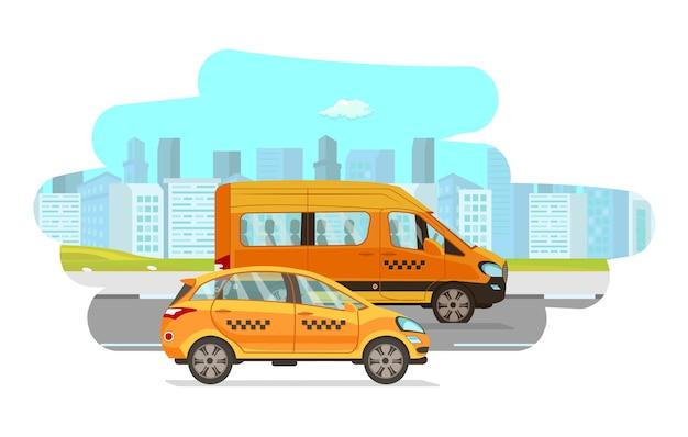 タクシー車フラットベクトル漫画イラスト Premiumベクター