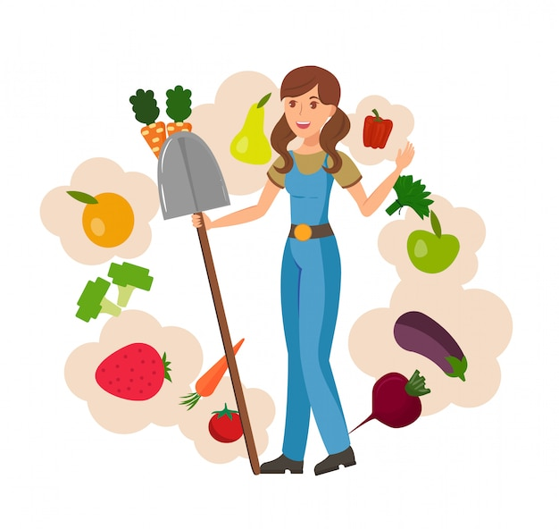 農場の少女と収穫フラットベクトルイラスト Premiumベクター
