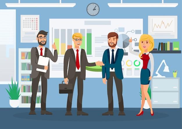 成功したビジネス会議のカラーイラスト Premiumベクター