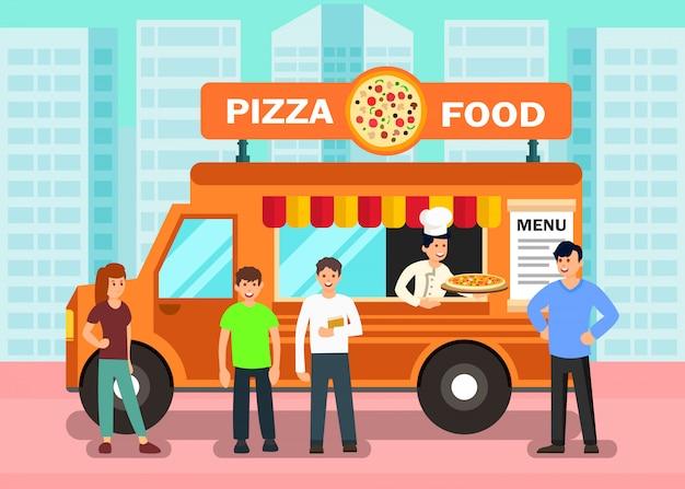 Продовольственный грузовик в современном городе векторная иллюстрация Premium векторы