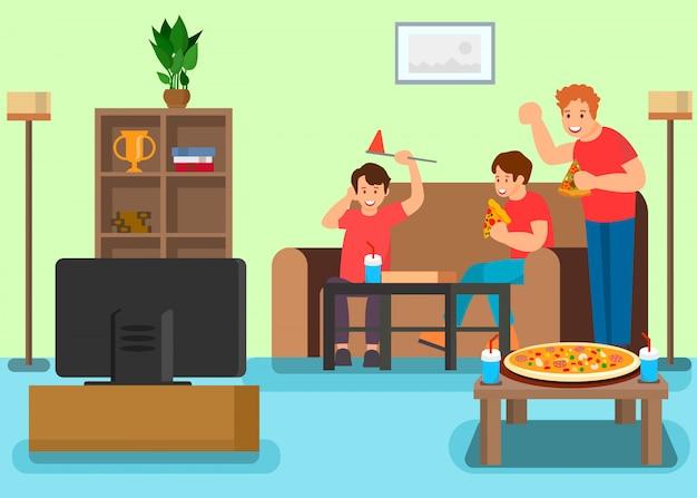 Друзья смотрят телевизор векторная иллюстрация Premium векторы