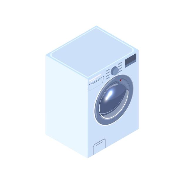 Реалистичная стиральная машина изометрические иллюстрация Premium векторы
