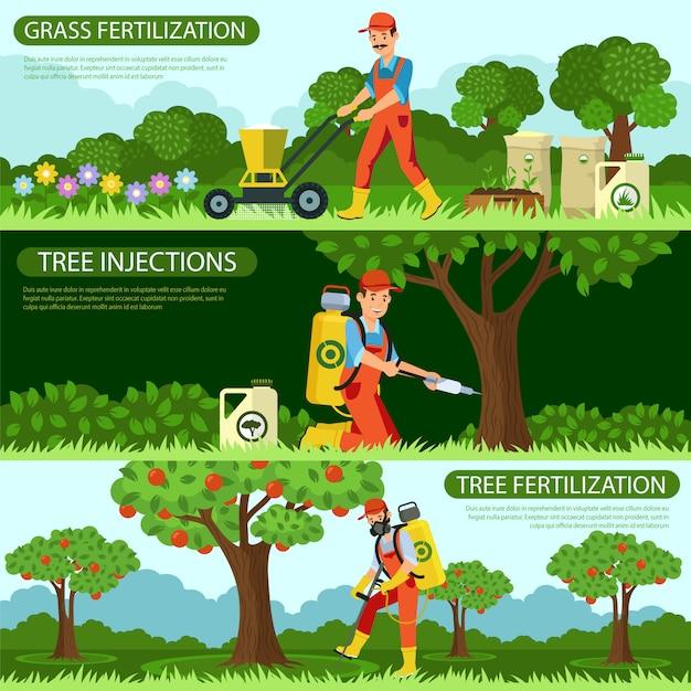 草の受精と樹木の注入を設定します。 Premiumベクター