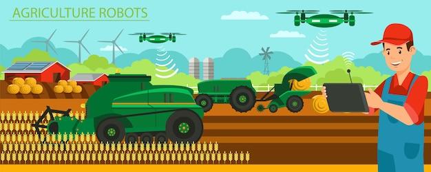 水平フラットバナー農業現代のロボット。 Premiumベクター