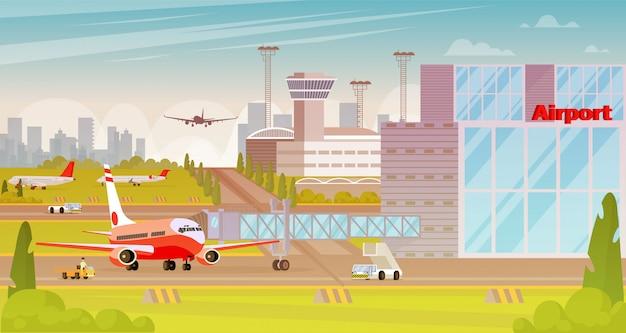 Территория аэропорта большой город плоской иллюстрации. Premium векторы