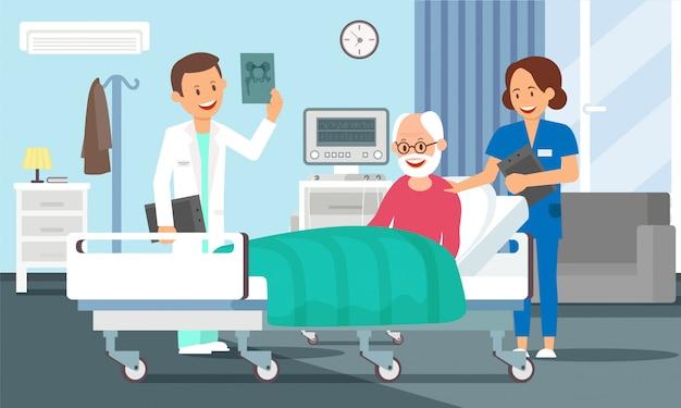Старик в больничной палате Premium векторы