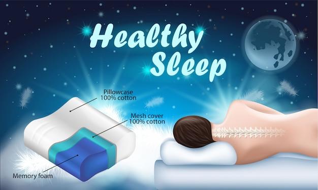 Рекламный флаер с надписью здоровый сон. Premium векторы