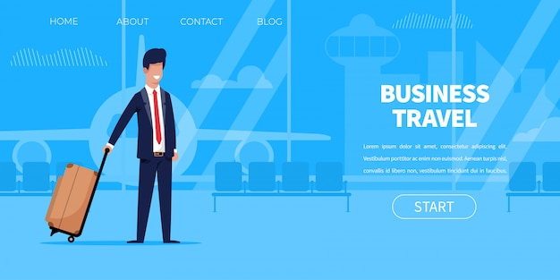 スーツケース空港ターミナルとスーツのビジネスマン Premiumベクター
