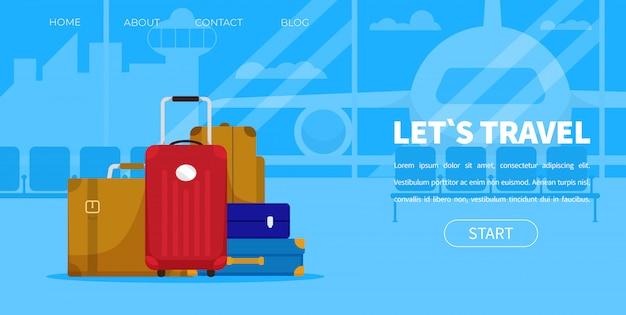 Туристический багаж пассажирский терминал аэропорта лугагге Premium векторы