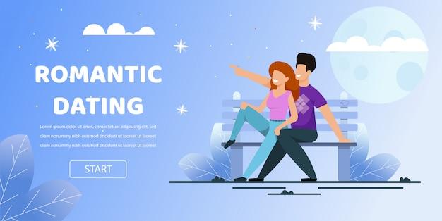 Пара сидят скамейка парк свидание романтическая ночь луна Premium векторы