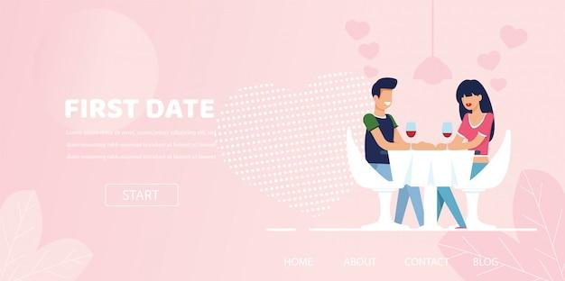 Мужчина женщина флирт чат дата ужин в ресторане Premium векторы