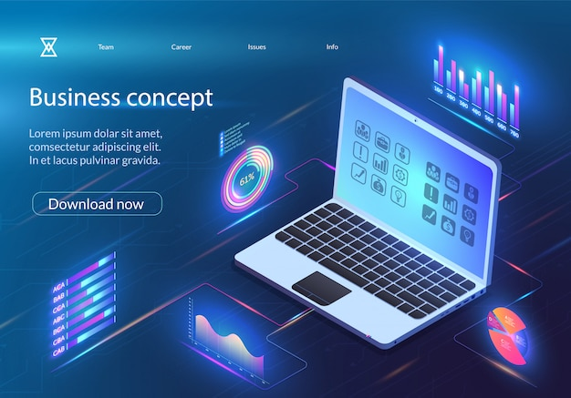 事業コンセプト財務分析インフォグラフィック。 Premiumベクター