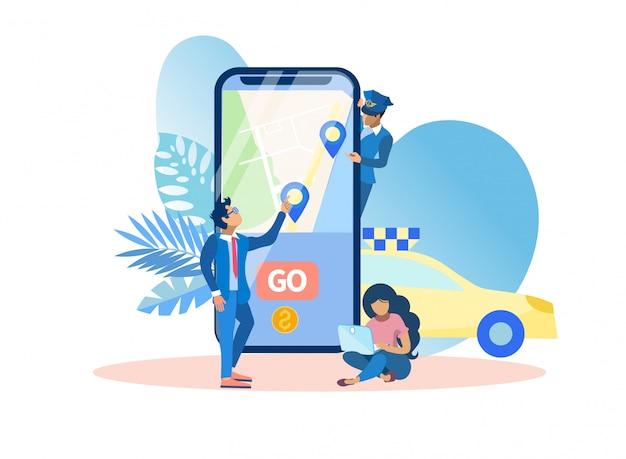 Мобильное приложение вызова такси векторные иллюстрации. Premium векторы