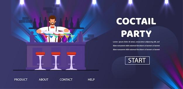 カウンターでカクテルパーティーバーテンダーは飲み物を準備します。 Premiumベクター