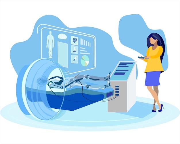 女性調べる人型フラットベクトル図 Premiumベクター