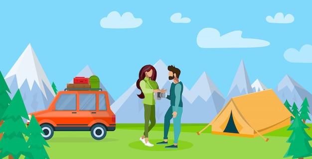 山で休んでいるカップルフラットイラスト Premiumベクター