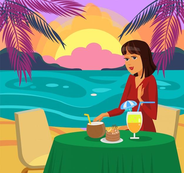 ビーチのベクトル図に夕食を食べている女性。 Premiumベクター