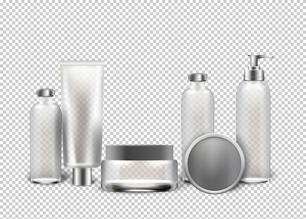 ベクトル現実的な化粧品透明な背景。 Premiumベクター