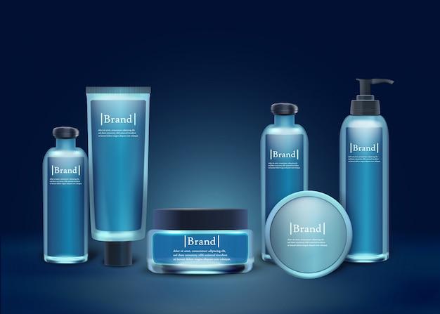 ブランド化粧品セットプラスチックとガラスの瓶。 Premiumベクター