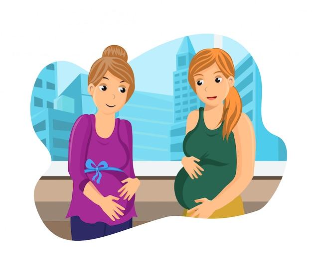 妊娠について議論しているガールフレンド Premiumベクター