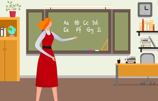 Учитель дает урок в классе. Premium векторы