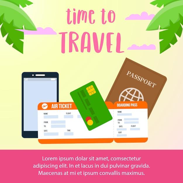 Время путешествовать текст макет баннера в социальных сетях. Premium векторы