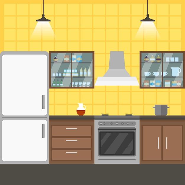 キッチンインテリアコワーキングベクトルイラスト。 Premiumベクター