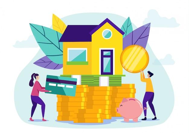女と男が新しい家の分割払いを購入 Premiumベクター