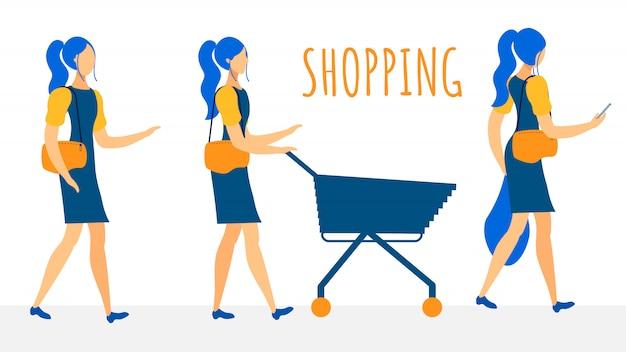 女性の買い物客フラットベクトル文字コレクション Premiumベクター