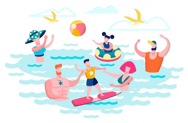 海水で楽しんでいる人フラットベクトルの概念 Premiumベクター